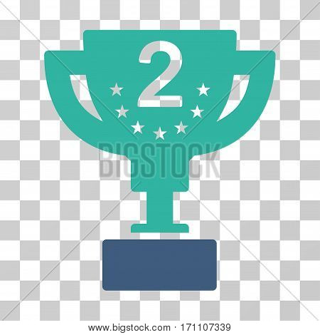 Second Prize Cup icon. Vector illustration style is flat iconic bicolor symbol cobalt and cyan colors transparent background. Designed for web and software interfaces.