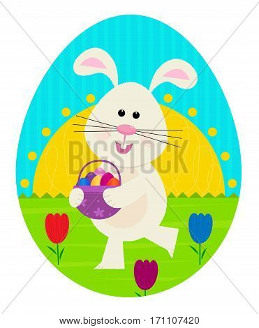 Cute Easter bunny is holding a basket with colorful eggs. Eps10