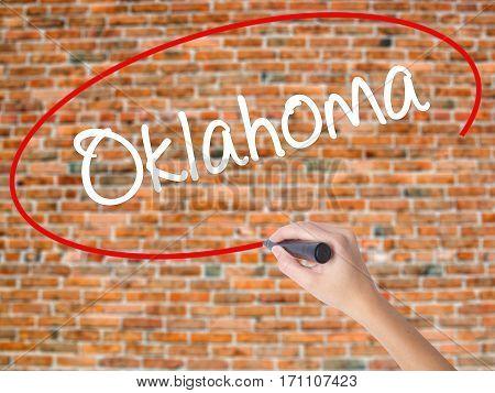 Woman Hand Writing Oklahoma With Black Marker On Visual Screen