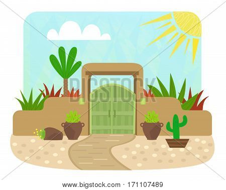 Cartoon pueblo style gate with green door and plants. Eps10