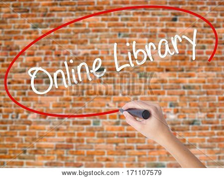 Woman Hand Writing Online Library With Black Marker On Visual Screen