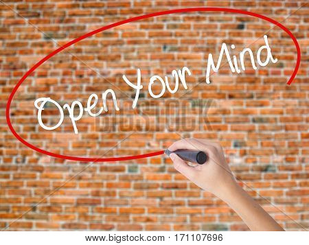 Woman Hand Writing Open Your Mind With Black Marker On Visual Screen