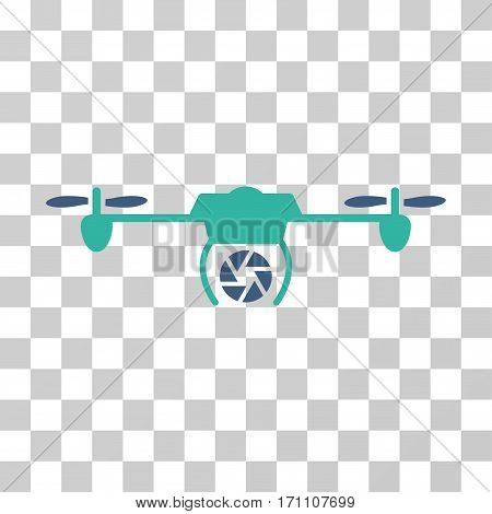 Shutter Spy Airdrone icon. Vector illustration style is flat iconic bicolor symbol cobalt and cyan colors transparent background. Designed for web and software interfaces.