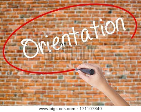 Woman Hand Writing Orientation With Black Marker On Visual Screen