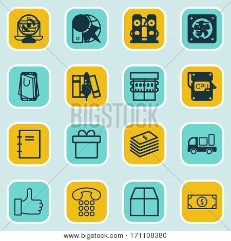 Set Of 16 Ecommerce Icons. Includes Dollar Banknote, Peg, Bookshelf And Other Symbols. Beautiful Design Elements.