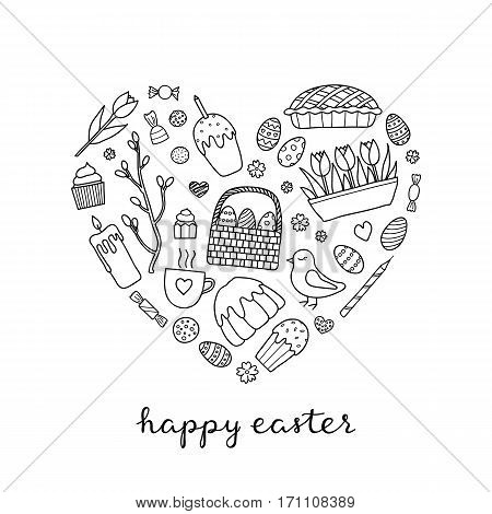 Traditional doodle outline easter items including colored eggs, tulips, glazed cake, candle, bird and pussy willow composed in heart shape with lettering.