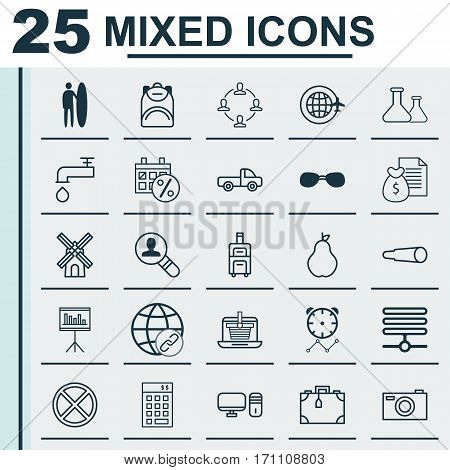 Set Of 25 Universal Editable Icons. Can Be Used For Web, Mobile And App Design. Includes Elements Such As World Travel, Surf-Board, E-Trade And More.