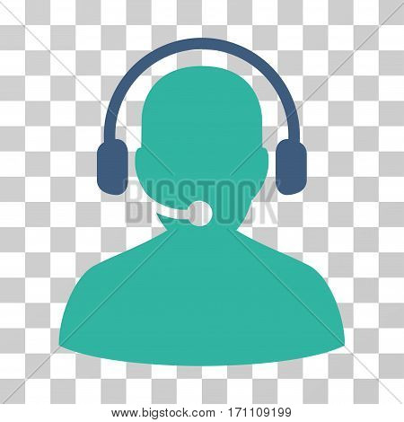 Telemarketing icon. Vector illustration style is flat iconic bicolor symbol cobalt and cyan colors transparent background. Designed for web and software interfaces.