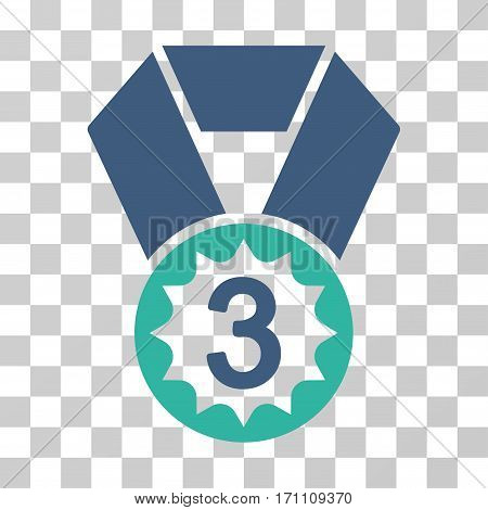 Third Place icon. Vector illustration style is flat iconic bicolor symbol cobalt and cyan colors transparent background. Designed for web and software interfaces.