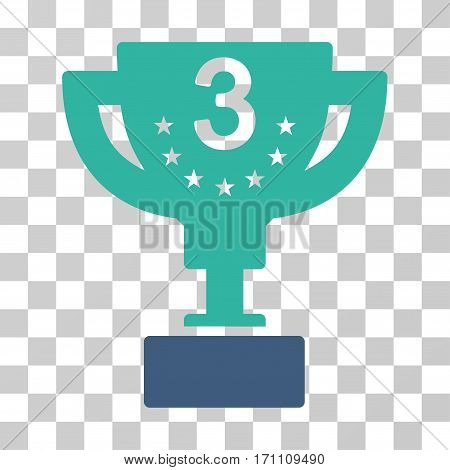 Third Prize Cup icon. Vector illustration style is flat iconic bicolor symbol cobalt and cyan colors transparent background. Designed for web and software interfaces.