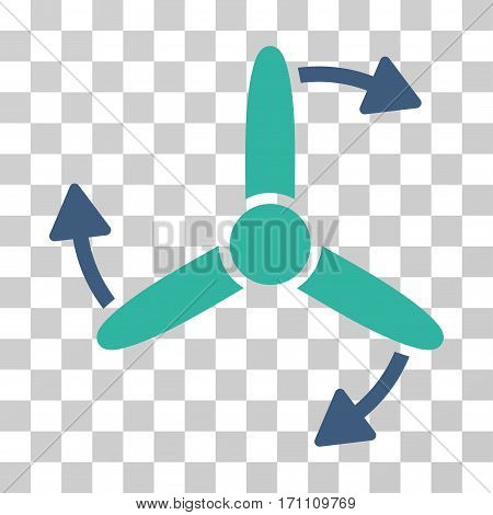 Three Bladed Screw Rotation icon. Vector illustration style is flat iconic bicolor symbol cobalt and cyan colors transparent background. Designed for web and software interfaces.