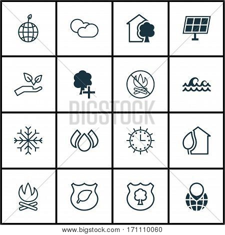 Set Of 16 Eco Icons. Includes Cloud Cumulus, World Ecology, Fire Banned And Other Symbols. Beautiful Design Elements.