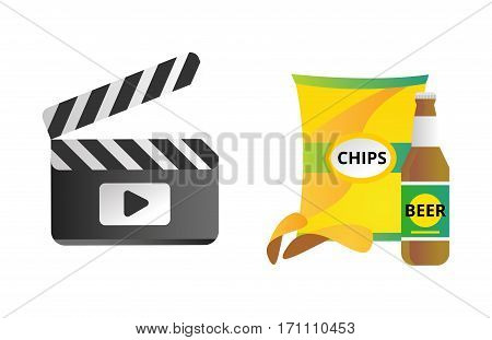 Clapper board and chips food vector illustration. Movie action black camera clap. Cinematography hollywood production director wooden shot blank equipment.