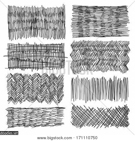 Doodles set. Scribble collection. Ink sketches. Hand drawn effect vector. Scrawl elements. Notebook abstract drawing for your design. Simple illustration for web creative project or printed product.