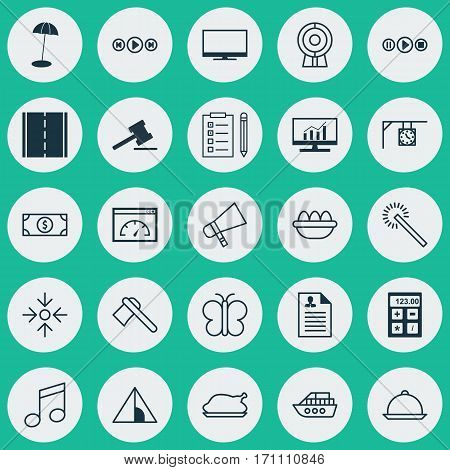 Set Of 25 Universal Editable Icons. Can Be Used For Web, Mobile And App Design. Includes Elements Such As Display, Buck, Audio Buttons And More.