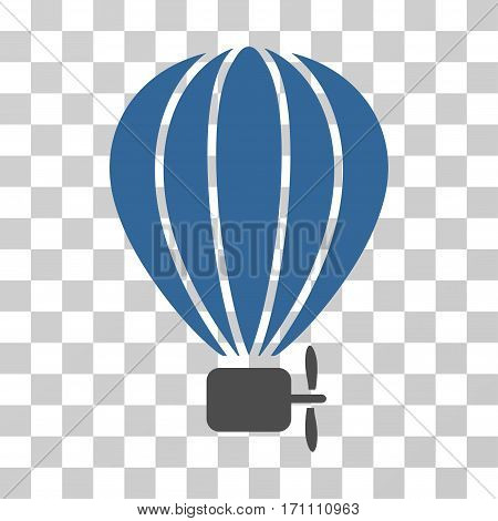 Aerostat Balloon icon. Vector illustration style is flat iconic bicolor symbol cobalt and gray colors transparent background. Designed for web and software interfaces.