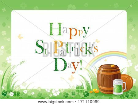 Happy Saint Patrick day. Green beer barrel border corner, isolated white background. Shamrock clover leaves frame, rainbow, grass. Traditional for Northern Ireland celtic holiday. Template poster.