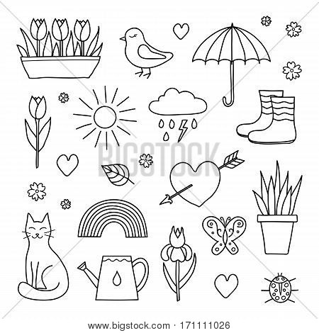 Collection of hand drawn outline spring items including sun, cloud, umbrella, boots, flowers, cat, bird, butterfly, ladybug and rainbow isolated on white background.