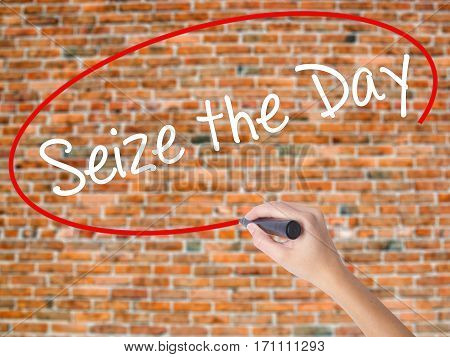 Woman Hand Writing Seize The Day With Black Marker On Visual Screen.