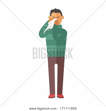 Illness flu man feeling cold and blowing his nose vector illustration. Healthcare blowing sneeze symptom sickness temperature person. Influenza allergy male.