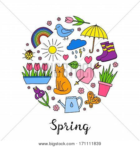 Hand drawn spring items including sun, cloud, umbrella, boots, flowers, cat, bird, butterfly, ladybug and rainbow composed in circle shape with lettering.