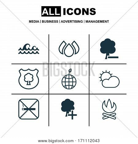Set Of 9 Eco Icons. Includes Bonfire, Cigarette, Insert Woods And Other Symbols. Beautiful Design Elements.