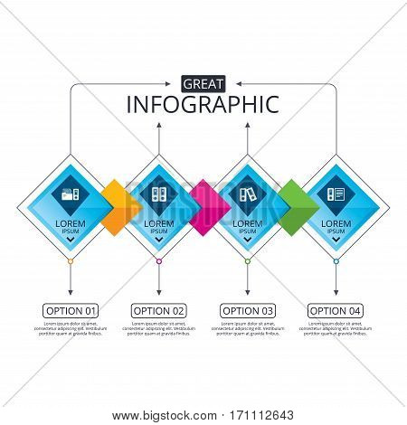 Infographic flowchart template. Business diagram with options. Accounting icons. Document storage in folders sign symbols. Timeline steps. Vector