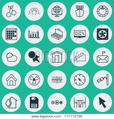 Set Of 25 Universal Editable Icons. Can Be Used For Web, Mobile And App Design. Includes Elements Such As Locate, Ventilator, Song UI And More.