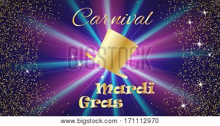 Mardi Gras celebration concept with golden hat and lettering typography on a colorful background. Vector illustration for cards, banners, print.