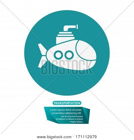 submarine periscope underwater trasnportation pictogram vector illustration eps 10