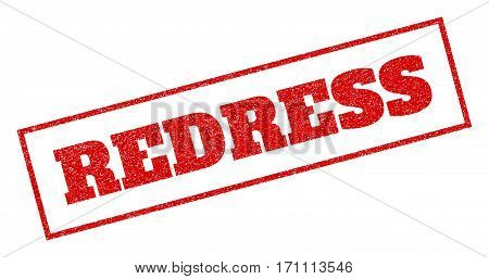 Red rubber seal stamp with Redress text. Vector tag inside rectangular frame. Grunge design and scratched texture for watermark labels. Inclined sign.