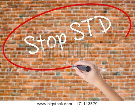 Woman Hand Writing Stop Std (sexually Transmitted Diseases) With Black Marker On Visual Screen