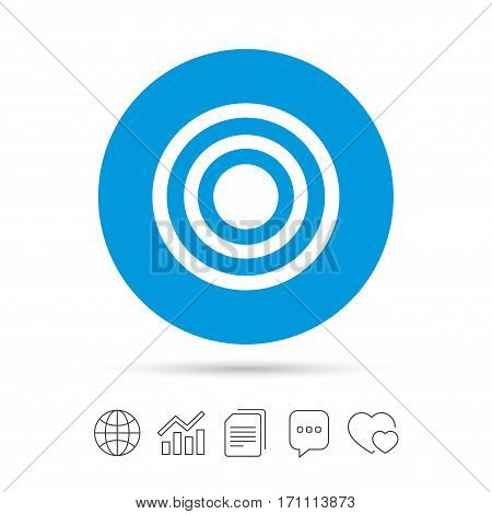 Target aim sign icon. Darts board symbol. Copy files, chat speech bubble and chart web icons. Vector