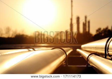golden steel pipe network in crude oil refinery