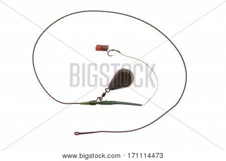 Bait fishing for carp isolated on white background with soft shadow