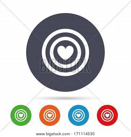 Target aim sign icon. Darts board symbol with heart in the center. Round colourful buttons with flat icons. Vector