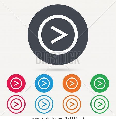 Arrow icon. Next navigation symbol. Round circle buttons. Colored flat web icons. Vector