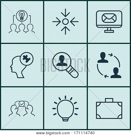 Set Of 9 Business Management Icons. Includes Email, Collaborative Solution, Portfolio And Other Symbols. Beautiful Design Elements.