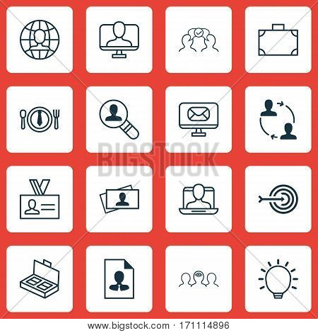 Set Of 16 Business Management Icons. Includes Dinner, Open Vacancy, Document Suitcase And Other Symbols. Beautiful Design Elements.
