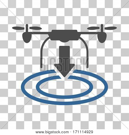 Drone Landing icon. Vector illustration style is flat iconic bicolor symbol cobalt and gray colors transparent background. Designed for web and software interfaces.