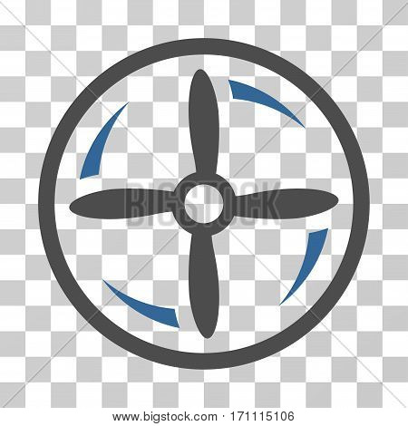 Drone Screw Rotation icon. Vector illustration style is flat iconic bicolor symbol cobalt and gray colors transparent background. Designed for web and software interfaces.