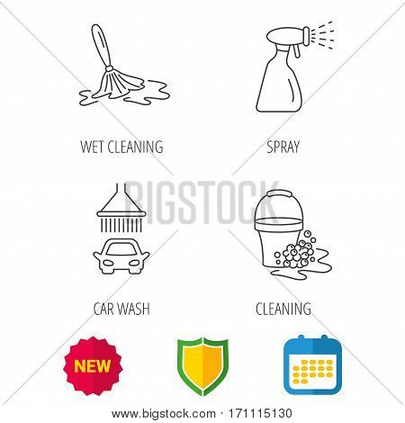 Car wash icons. Automatic cleaning station linear signs. Bucket with foam bubbles, spray flat line icons. Shield protection, calendar and new tag web icons. Vector