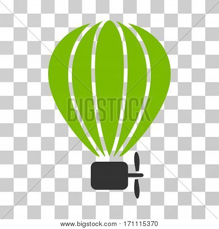 Aerostat Balloon icon. Vector illustration style is flat iconic bicolor symbol eco green and gray colors transparent background. Designed for web and software interfaces.