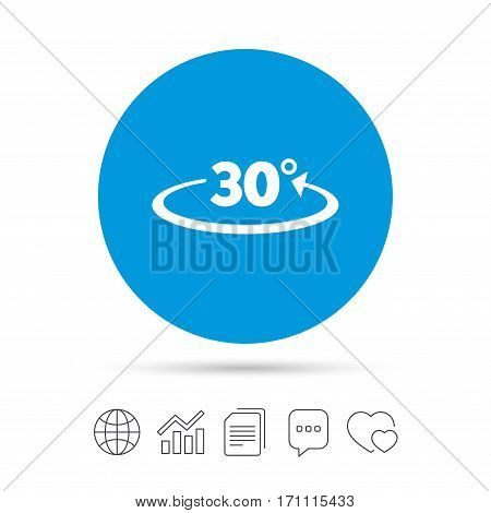 Angle 30 degrees sign icon. Geometry math symbol. Copy files, chat speech bubble and chart web icons. Vector