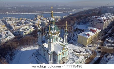 Saint Andrew's Church in Kiev on the Andriyivsky Descent was built in 1747-1754 and designed by the famous architect Bartolomeo Rastrelli, Ukraine
