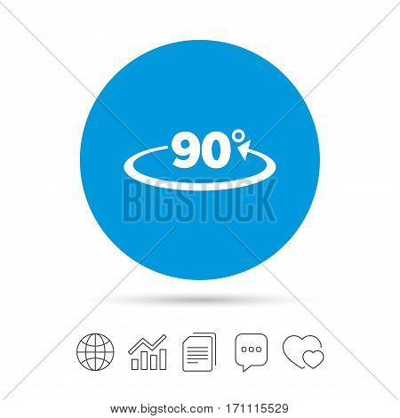 Angle 90 degrees sign icon. Geometry math symbol. Right angle. Copy files, chat speech bubble and chart web icons. Vector