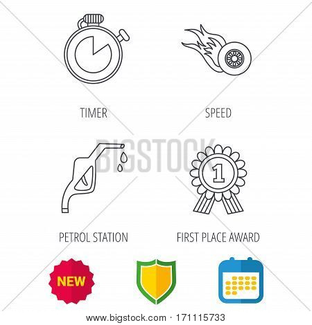 Winner award, petrol station and speed icons. Race timer linear sign. Shield protection, calendar and new tag web icons. Vector