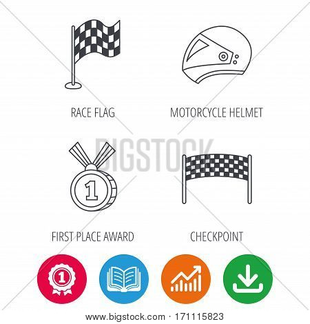 Race flag, checkpoint and motorcycle helmet icons. Winner award medal linear signs. Award medal, growth chart and opened book web icons. Download arrow. Vector