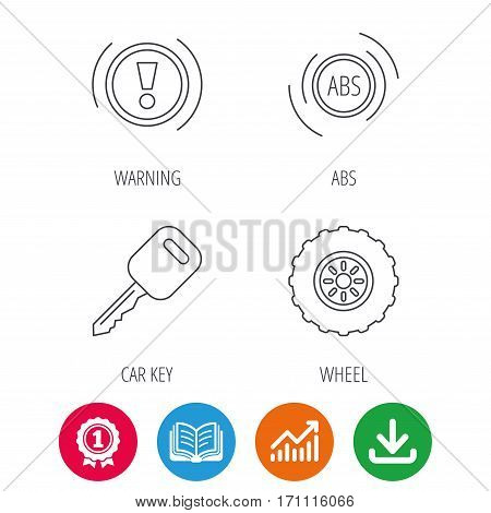 Car key, abs and wheel icons. Warning ABS, attention linear signs. Award medal, growth chart and opened book web icons. Download arrow. Vector
