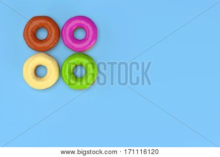 Four colored donuts on blue background with copy space 3d rendering